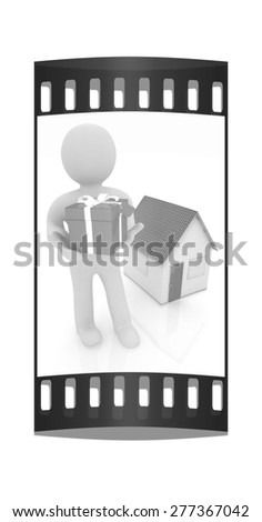 3d man with gift and house on a white background. The film strip - stock photo