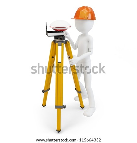 3d man with gps station isolated on white - stock photo