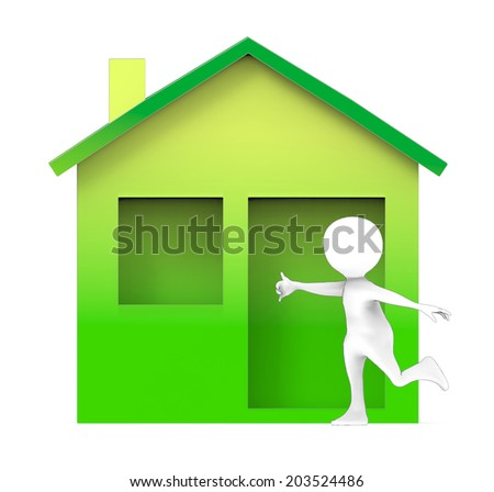 3d man with green house - stock photo