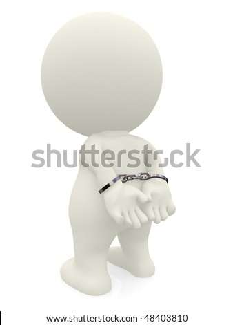 3D man with handcuffs isolated over a white background - stock photo