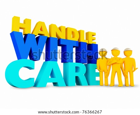 3D man with handle with care boxes isolated over a white background - stock photo
