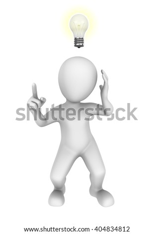 3d man with idea bulb. 3d illustration.