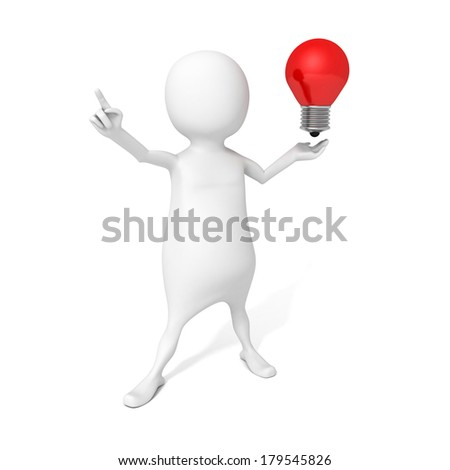 3d man with idea lightbulb on white background pointing right success direction. 3d render concept - stock photo