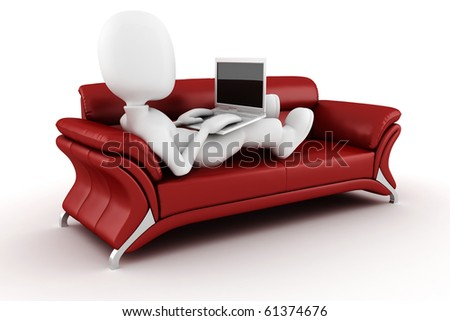 3d man with laptop sitting on a red sofa - stock photo