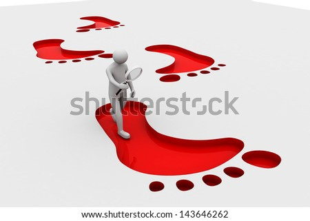 3d man with magnifier and footprints - stock photo