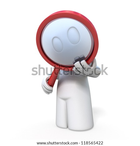 3d man with magnifier on white background, isolated - stock photo