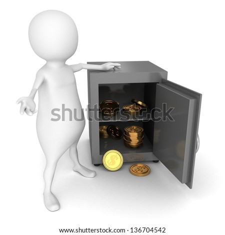 3d man with opened bank safe and golden dollar coins