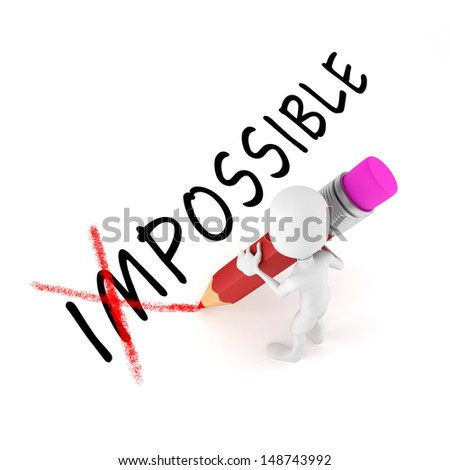 3d man with pencil,  optimistic attitude, on white background - stock photo