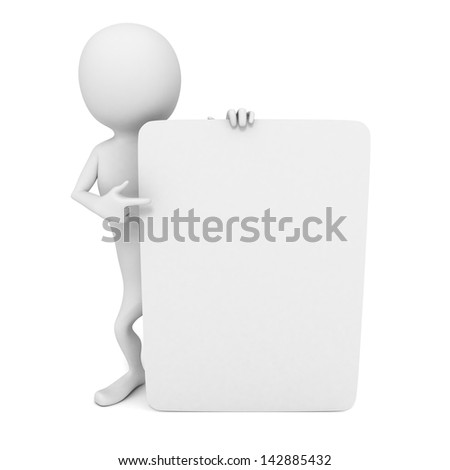 3d man with pointing finger to white blank business card