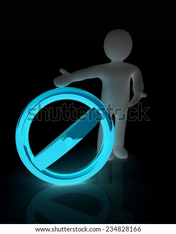 3d man with prohibition sign - stock photo