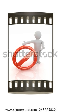 3d man with prohibition sign. The film strip - stock photo