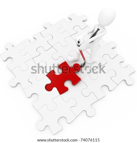 3d man with puzzle and crowbar isolated on white