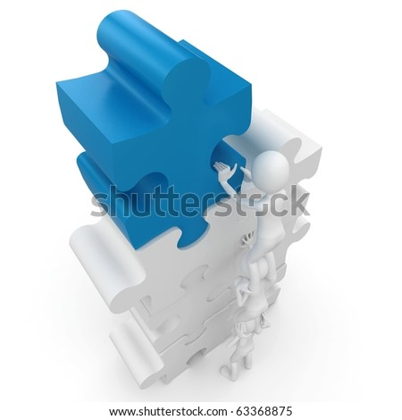 3d man with puzzle isolated on white - stock photo