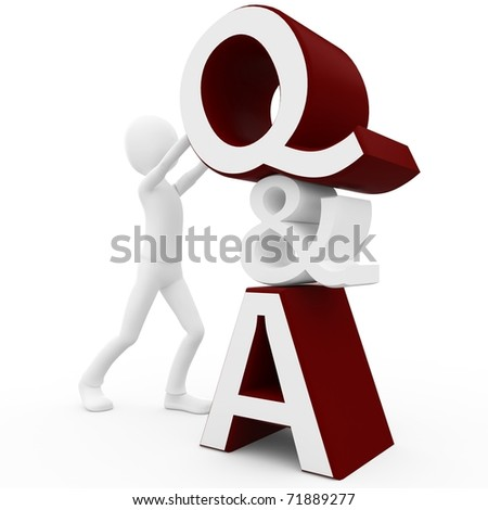 3d man with question and answer sign isolated on white - stock photo