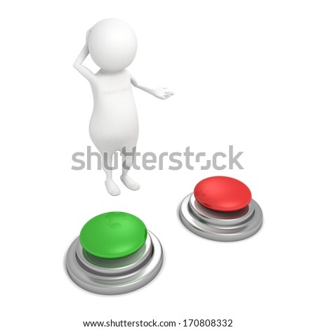 3d man with red and green buttons wondering choice - stock photo