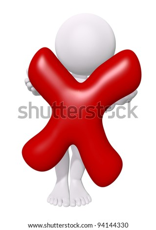3d man with red check mark