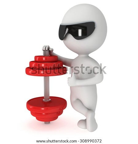 3d man with red dumbbell and  sunglasses. 3d render isolated on white background. Gesture thumbs up