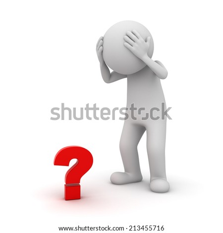 3d man with red question mark isolated over white background - stock photo