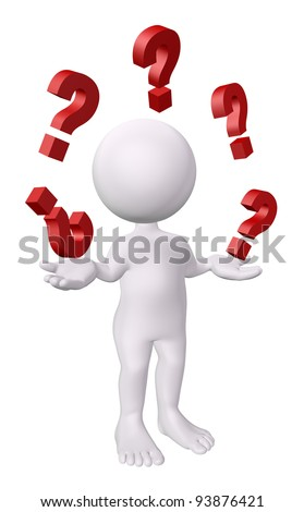 3d man with red question marks - stock photo