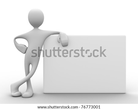 3d man with relaxed attitude leaning on white board from the side - stock photo