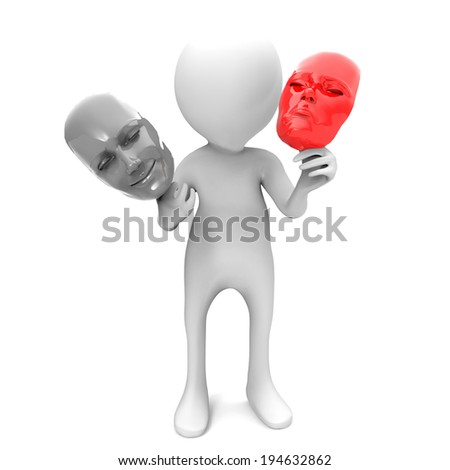 3d man with sad and happy masks