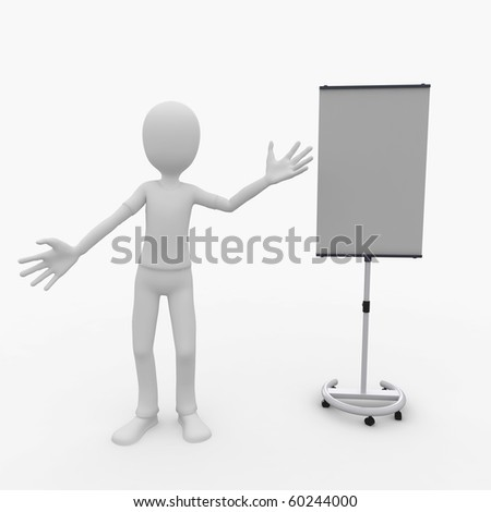 3d man with screen isolated on white