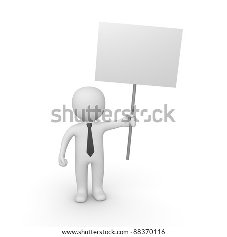 3d man with sign board - stock photo