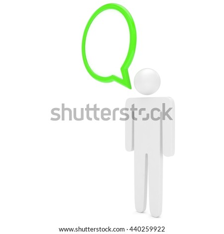 3d man with talk bubbles isolated over a white background. 3d rendering. - stock photo