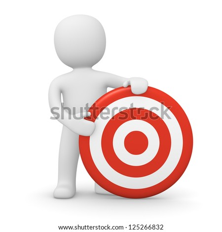 3d man with target. 3d rendered illustration. - stock photo