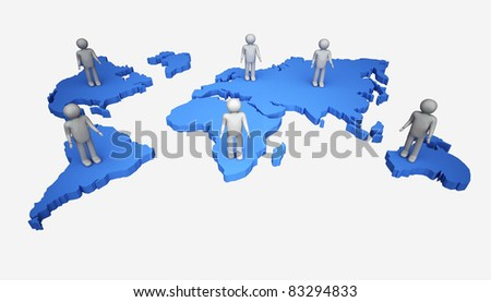 3d man with the world map.