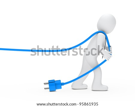 3d man with tie draws blue cable