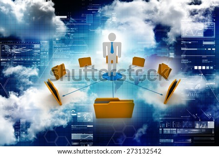 3d man with yellow office folders - stock photo