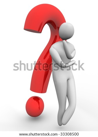 3D man wondering in front of a red question mark. High Resolution 3D render isolated on white.
