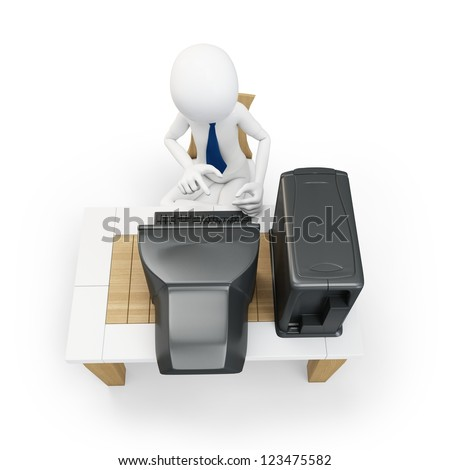 3d man working at old computer on white background