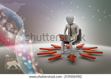 3d man working on laptop - stock photo