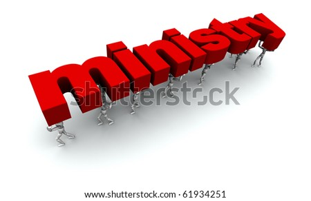 3D mannequins carrying the word 'ministry' in red. - stock photo