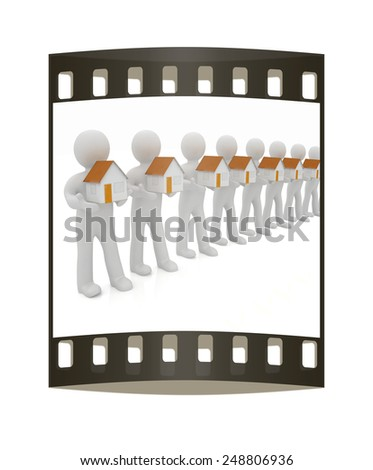 3d mans and houses. The film strip - stock photo