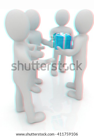 3d mans gives gifts on a white background. 3D illustration. Anaglyph. View with red/cyan glasses to see in 3D.