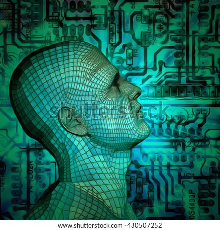 3D mans head with a circuit board 3D Render - stock photo