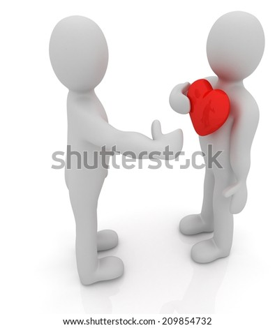 "3d mans holding his hand to his heart. Concept: ""From the heart"""