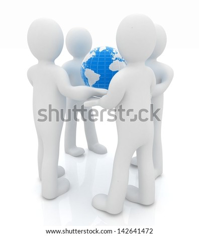 3d mans holding the Globe - stock photo