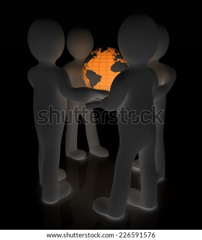 3d mans holding the Globe on a black background - stock photo