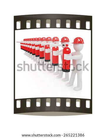 3d mans in hardhat with red fire extinguisher on a white background. The film strip - stock photo