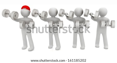 3d mans with metall dumbbells on a white background