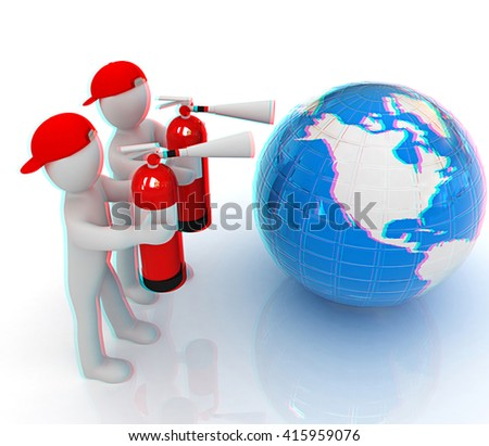 3d mans with red fire extinguisher extinguish earth on a white background. 3D illustration. Anaglyph. View with red/cyan glasses to see in 3D.