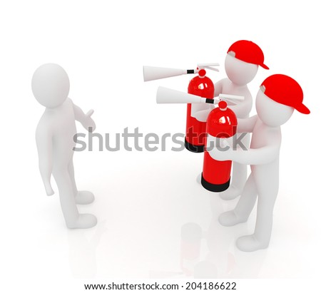 3d mans with red fire extinguisher. The concept of confrontation on a white background