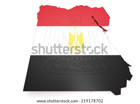 3d Map illustration of Egypt with map and coat of arms - stock photo
