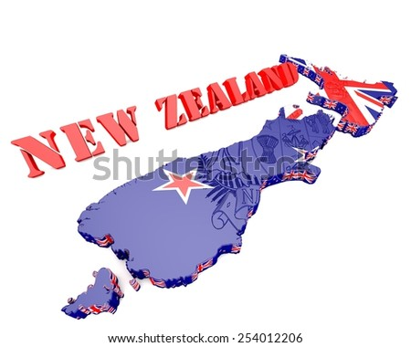 3D map illustration of New Zealand with coat of arms