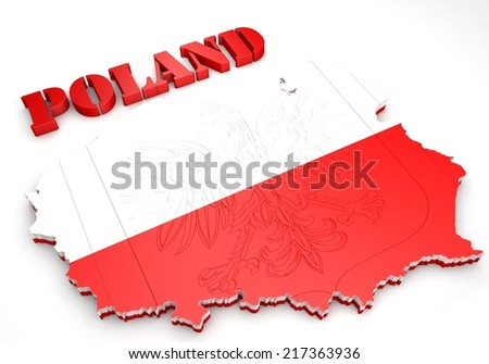 3D Map illustration of Poland with flag and coat of arms - stock photo