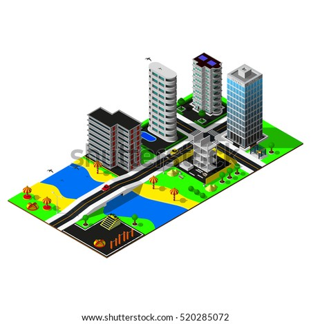 3d map. Isometric building. Map includes beach, river, bridge, hotel, buildings, amusement park, car and markings. Isometric city.